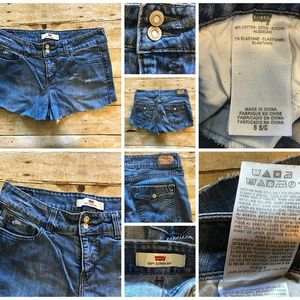 Med Wash Faded Jean Distressed Short Cutoffs